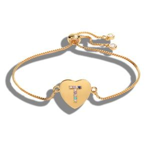 Jewelry - NWT Gold Multicolor T Initial Name Heart Bracelet